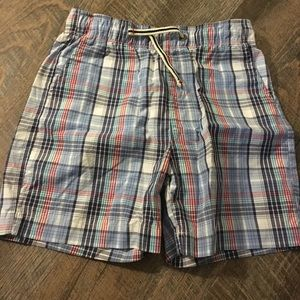 Red and blue plaid shorts